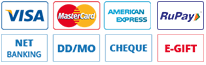 Net Banking, DD/MO, E-Gift,Visa, MasterCard, Diner's Club, American Express